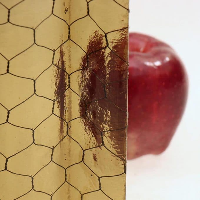Amber corrugated chicken wire glass