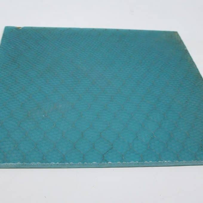 Aqua pebbled chicken wire glass