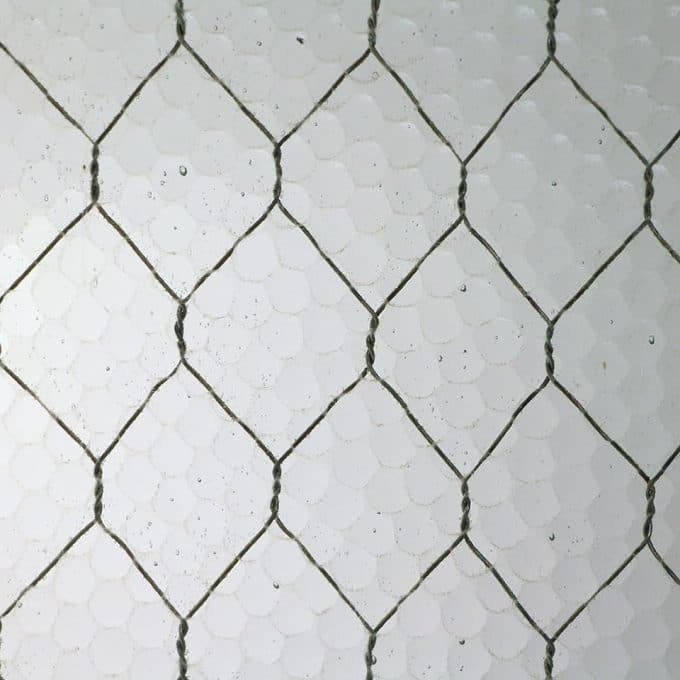 Pebbled chicken wire glass
